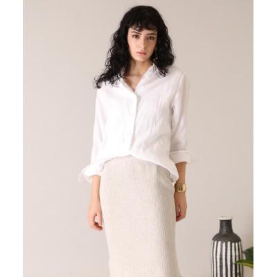【イネド】 《大きいサイズ》レギュラーカラーリネンシャツ《MONTI》 レディース オフホワイト1 15 INED