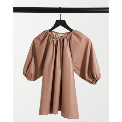 エイソス ASOS DESIGN レディース トップス Trapeze Smock Top In Leather Look In Sand ベージュ