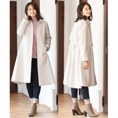 Tiaclasse / 【日本製生地】上質素材を使用した、バックリボンディテールウールコート WOMEN ジャケット/アウター > ステンカラーコート