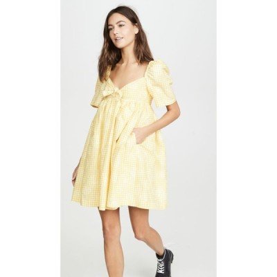 プッシュボタン pushBUTTON レディース ワンピース ミニ丈 ワンピース・ドレス Puff Mini Dress Yellow