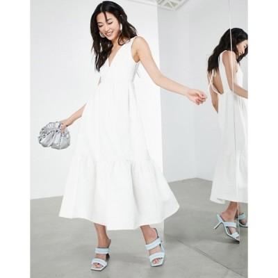 エイソス レディース ワンピース トップス ASOS EDITION textured floral midi dress in white