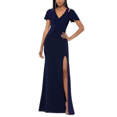 エスケープ ワンピース トップス レディース Split-Shoulder A-Line Gown Navy Blue