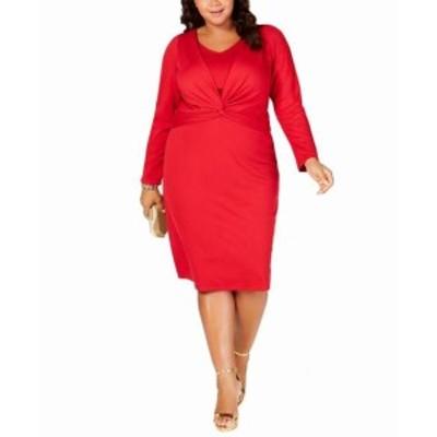Fire ファイア ファッション ドレス Taylor Womens Dress Fire Red Size 18W Plus Sheath Twist-Front Midi
