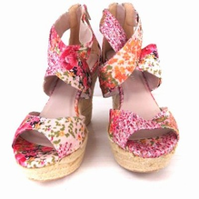 【中古】マーキュリーデュオ MERCURYDUO 靴 シューズ サンダル 花柄 クロス レースアップ ウエッジソール 38 ピンク
