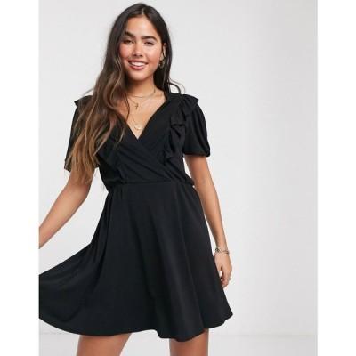 マンゴ Mango レディース ワンピース ミニ丈 ワンピース・ドレス Ruffle Detail Mini Dress In Black ブラック