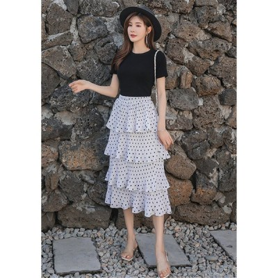 追加 限定発売 高品質で 韓国ファッション sweet系 ハイウエスト スリム ロング ケーキスカート スカート
