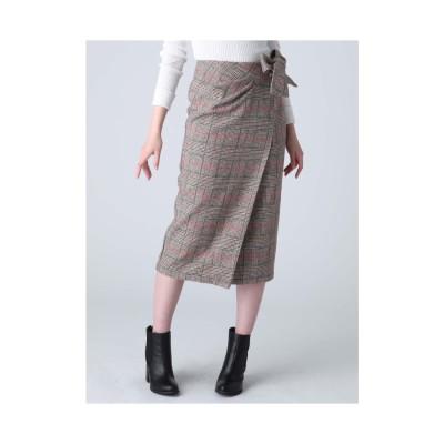 dazzlin チェックラップスカート ブラウン