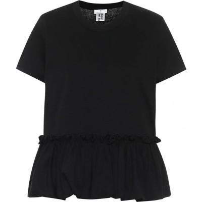 ノワール ケイ ニノミヤ Noir Kei Ninomiya レディース Tシャツ トップス Ruffle-Hem Cotton T-Shirt Black