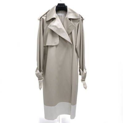 18AW TOMOUMI ONO  trench coat トモウミオノ レディース アウター 配色 ロング トレンチ コート ベルト ベージュ 38 M