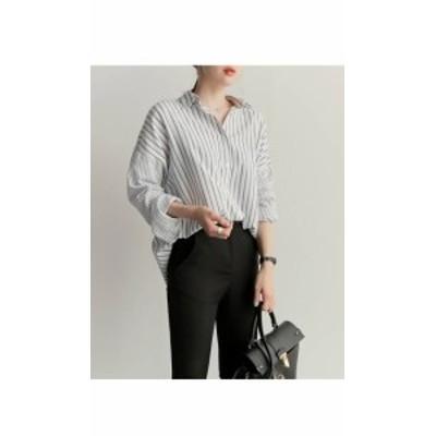 ボタンダウンカラー シャツ ストライプ 切り替えシャツ レディース シンプル シック 爽やか 長袖 カジュアル デイリー スタイリッシュ