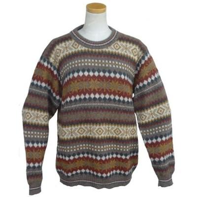 ALC-077 アルパカ100%セーター 男性 丸首 幾何学柄 インカ柄 暖かい