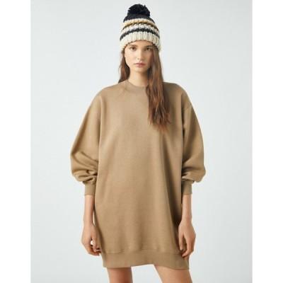 プルアンドベアー レディース ワンピース トップス Pull&Bear oversized sweatshirt dress in beige