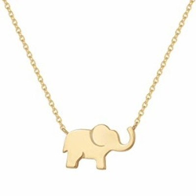 FANCIME Yellow Gold Plated Soldi Real 925 Sterling Silver High Polished Cute Mini Small Lucky Elephant Dainty Pendant Necklace F