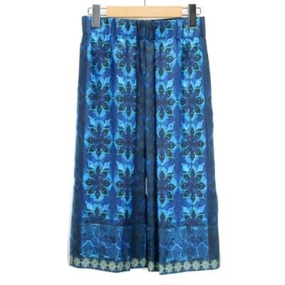 【中古】モガ MOGA スカート フレア タック 花柄 シルク 2 青 ブルー レディース 【ベクトル 古着】