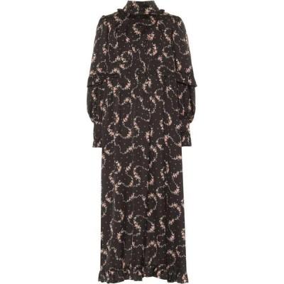 パコラバンヌ Paco Rabanne レディース ワンピース ミドル丈 ワンピース・ドレス Floral Satin Midi Dress Black Flowers Garland