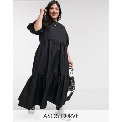 エイソス レディース ワンピース トップス ASOS DESIGN Curve tiered cotton poplin smock midi dress in black