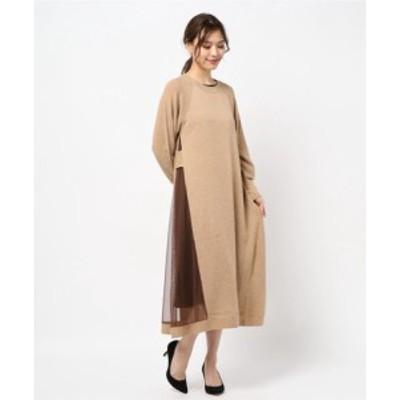 サイドチュール アシンメトリーデザインニットワンピース    レディースアパレル ドレス