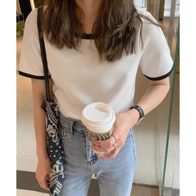 tシャツ Tシャツ 配色リブクルーネックカットTシャツ