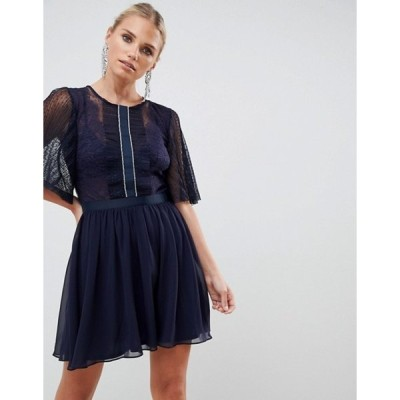 エイソス レディース ワンピース トップス ASOS DESIGN mini dobby skater dress with embellished trim