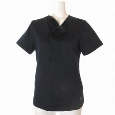【中古】ワイスリー Y-3 アディダス × ヨウジヤマモト Tシャツ 半袖 変形衿 ネイビー XS トップス IBS77 レディース