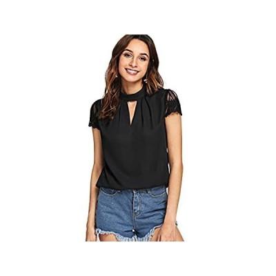 Romwe Women's Elegant Lace Short Sleeve Sexy Keyhole Blouse Shirt Black Sma 好評販売中