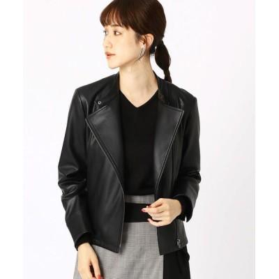 COMME CA ISM/コムサイズム 《フェイクレザー》 ライダースジャケット ブラック S