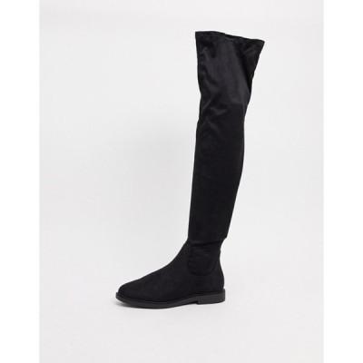 エイソス レディース ブーツ・レインブーツ シューズ ASOS DESIGN Kennedy flat over the knee boots in black