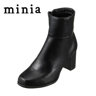 ミニア minia 9039 レディース | ブーツ ショートブーツ | チャンキーヒール | シンプル 定番 | マニッシュ | ブラック