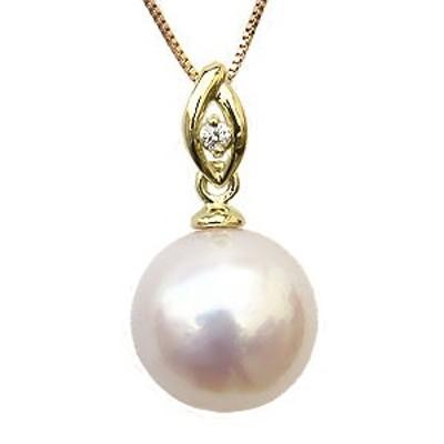 パール ペンダントトップ  本真珠 9mm ダイヤモンド 0.01ct K18 ゴールド