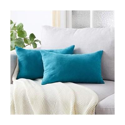 Topfinel クッションカバー 長方形 リネンっぽい 30×50cm 北欧 おしゃれ 綿麻 無地 ソファ背当て 装飾枕カバー ブルー 2枚(全10