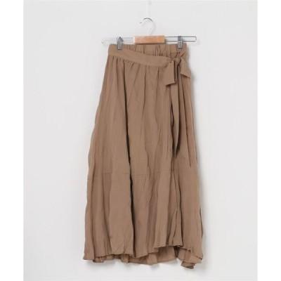 スカート 【socolla】フレアワッシャーラップスカート