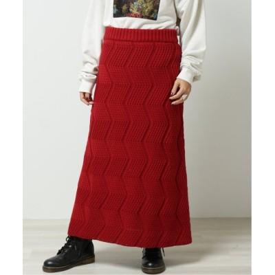 【ダブルネーム】 ギザギザニットスカート レディース 赤 FREE DOUBLE NAME