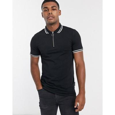asos エイソス ポロシャツ メンズ 無地 スリムフィット ジップアップ 半袖 ブラック 大きいサイズあり