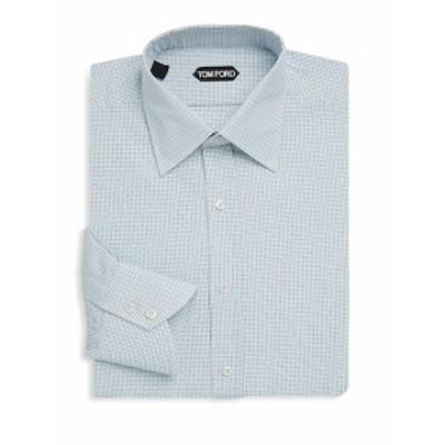 トムフォード メンズ ドレスシャツ ワイシャツ Plaid Cotton Dress Shirt
