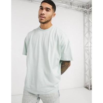 エイソス ASOS DESIGN メンズ Tシャツ トップス oversized t-shirt with crew neck in pale green ペールアクア
