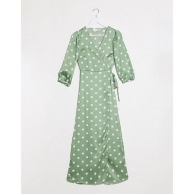 ヴィラ レディース ワンピース トップス Vila wrap midi dress with polka dot  in green