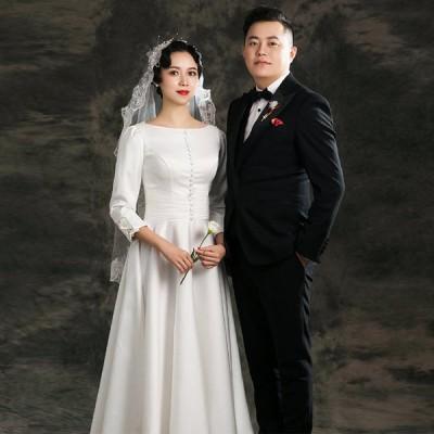 ウエディングドレス フォトウェディング リゾートウェディング ブライダル 撮影 海外挙式 ウェディングドレス ミモレ丈ドレス 長袖 結婚式 二次会 花嫁 披露宴