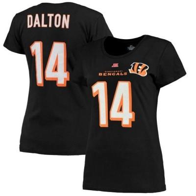 レディース スポーツリーグ フットボール Andy Dalton Cincinnati Bengals Majestic Women's Fair Catch V Name & Number T-Shirt - Black