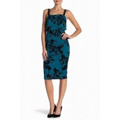ファッション ドレス The Vanity Room Womens Blue Size Medium M Floral Velvet Sheath Dress