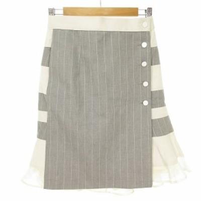 【中古】サカイ sacai 15SS スカート 切り替え ストライプ ボーダー シルクフリル 2 グレー オフホワイト 15-02246
