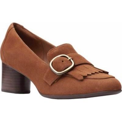 クラークス レディース スリッポン・ローファー シューズ Women's Clarks Un Cosmo Go Heeled Loafer Tan Suede