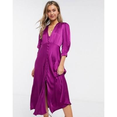 ゴースト レディース ワンピース トップス Ghost Maddison button front satin midi dress in purple