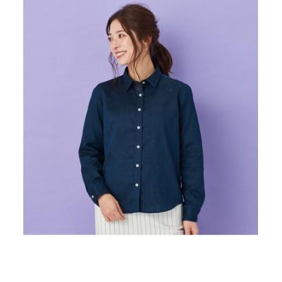 レディース ウィメンズシャツ 長袖 形態安定 やわらかガーゼ レギュラー衿 綿100% ネイビー×無地調、カラーネップ
