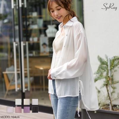 SpRay サイドリボンシアーシャツ ホワイト M レディース