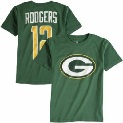 Outerstuff アウタースタッフ スポーツ用品  Aaron Rodgers Green Bay Packers Youth Green Grinder Distressed Logo Name & Number T-Sh
