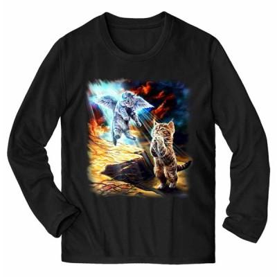 【天使 エンジェル 猫 ねこ】メンズ 長袖 Tシャツ by Fox Republic