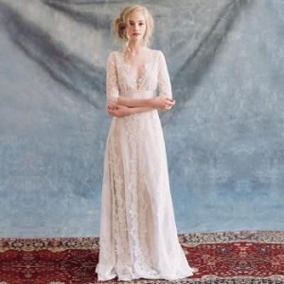 ウェディングドレス ウエディングドレス Vネック スレンダーライン ファスナータイプ トレーンドレス【XS~XXL】【wd370】