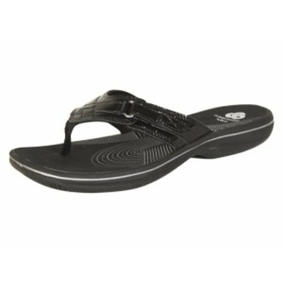 clarks クラークス ファッション サンダル Clarks Womens Breeze Sea Black Patent Flip Flops Sandals Shoes