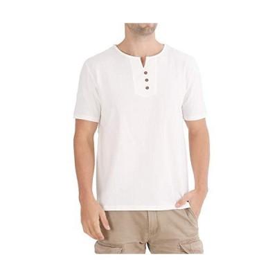 UNIMA tシャツ リネン 半袖 涼しい 日本サイズ 5色 カジュアル (L ホワイト)