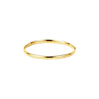 Solid 14k Yellow Gold 4mm Hinged Bangle Bracelet Size 7 inch for Women並行輸入品